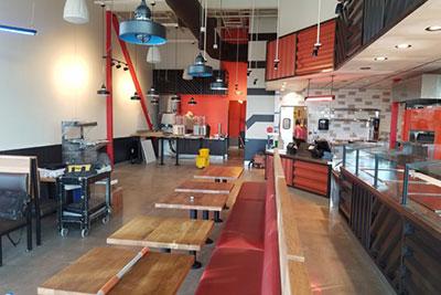 modern fast casual restaurant dining room